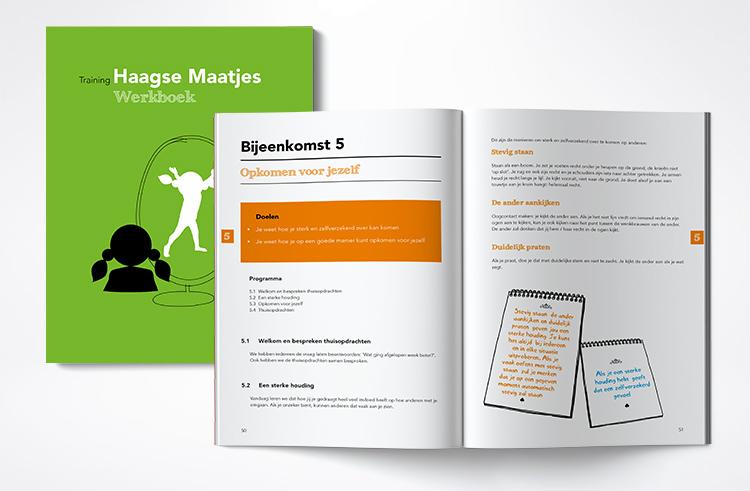 ontwerp beleven uitbeelden vormgeving layout opmaak illustratie Haagse Maatjes Parnassia Groep lesmateriaal lesboek opkomen voor jezelf ik ben dik zelfbeeld frustratie voeding beweging pesten moielijke momenten elkaar leren kennen